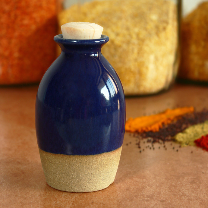 Oil Bottle - Indigo and Sand Decorative Container By Studio Asao