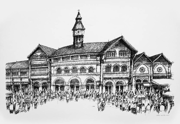 Crawford Market by Natu Mistry, Illustration Serigraph, Serigraph on Paper, Gray color