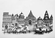 Varanasi by Natu Mistry, Illustration Serigraph, Serigraph on Paper, Gray color