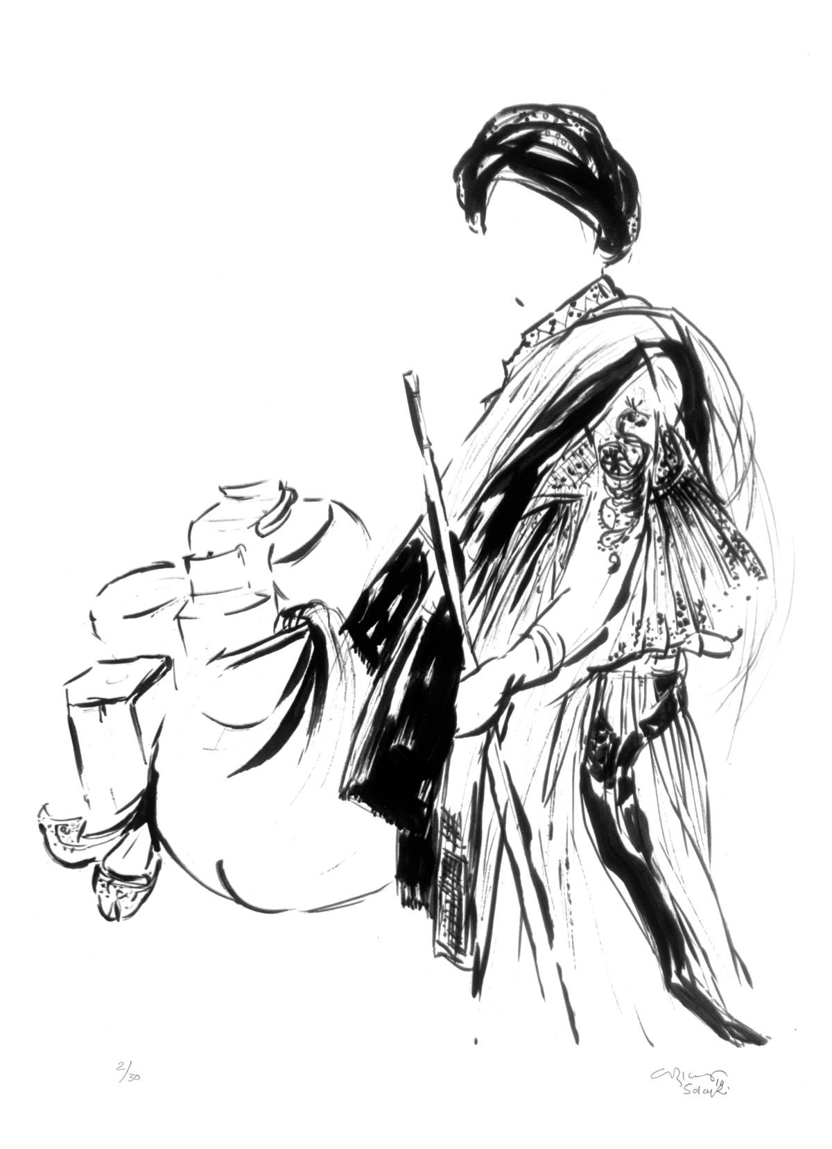 Untitled by Vrindavan Solanki, Illustration Serigraph, Serigraph on Paper, White color