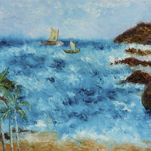 Kovalam by Shabnam Mehra, Impressionism Painting, Oil on Canvas, Cyan color