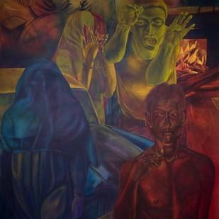 Amat-Tua by Radha Binod Sharma, Pop Art Painting, Acrylic on Canvas, Brown color