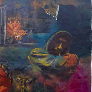 Kiya Baat Hai II by Radha Binod Sharma, Impressionism Painting, Acrylic on Paper, Blue color