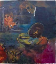 Kiya Baat Hai II by Radha Binod Sharma, Impressionism Painting, Acrylic on Paper, Blue color