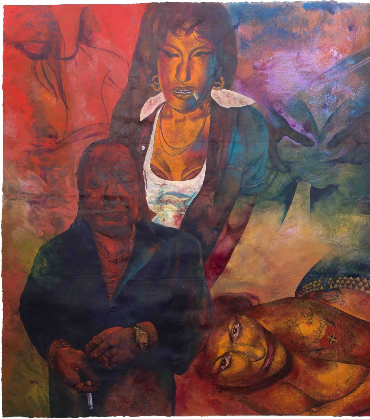 Kiya Baat Hai I by Radha Binod Sharma, Pop Art Painting, Acrylic on Paper, Brown color