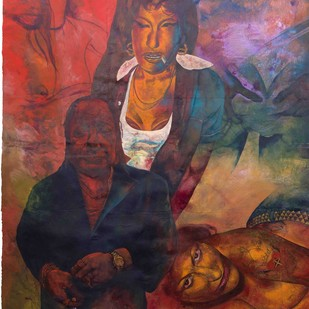 Kiya Baat Hai I by Radha Binod Sharma, Pop Art Painting, Acrylic on Paper, Brown color
