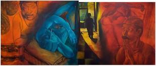 Kiya Baat Hain? Baat Hain! Baat Hain! by Radha Binod Sharma, Pop Art Painting, Acrylic on Canvas, Brown color