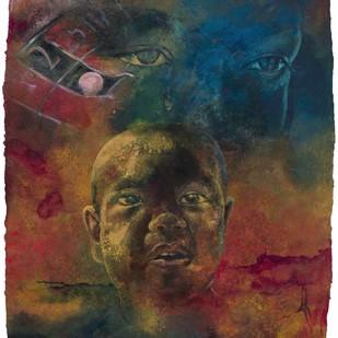 Nepal 2015 by Radha Binod Sharma, Impressionism Painting, Acrylic on Paper, Brown color