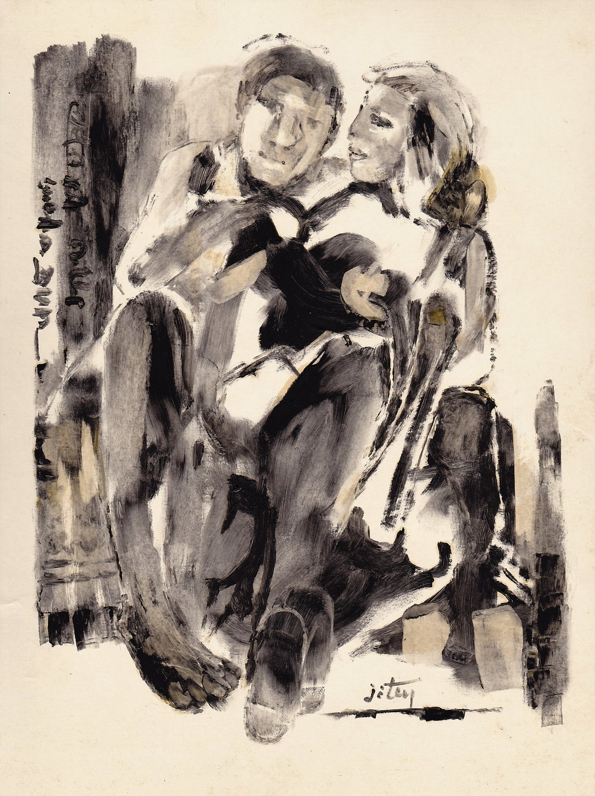 Couple by Jiten Hazarika, Expressionism Painting, Oil on Paper, Beige color