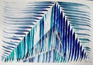 Aspirant by Aiyana Gunjan, Abstract Painting, Watercolor on Paper, Cyan color