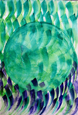 Earth Hour by Aiyana Gunjan, Abstract Painting, Watercolor on Paper, Green color