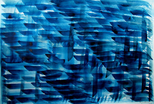 Race of Life by Aiyana Gunjan, Abstract Painting, Watercolor on Paper, Blue color