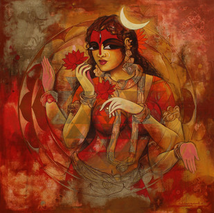 Woman With Srichakra 1 by Rajeshwar Nyalapalli, Decorative Painting, Acrylic on Canvas, Brown color