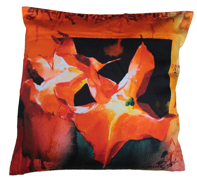 Orange Burst by Samir Mondal Cushion Cover By indian-colours