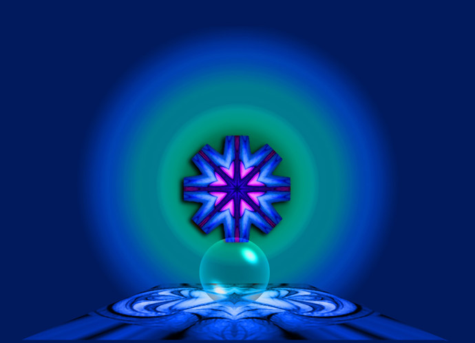Blue Ball by Arun Trivedi , Geometrical Digital Art, Digital Print on Canvas, Blue color