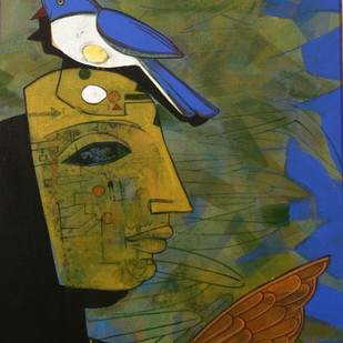 Untitled by Ashoke Mullick, Expressionism Painting, Acrylic on Canvas, Green color