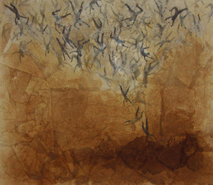 Untitled III by Sandip Daptari, Impressionism Painting, Mixed Media on Canvas, Brown color