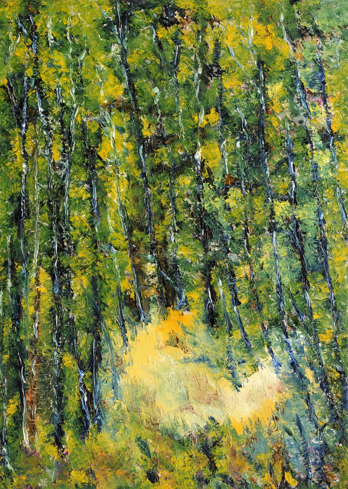 Untitled by Shabnam Mehra, Impressionism Painting, Oil on Canvas, Green color