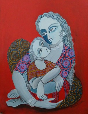 Mother and Child by Jayshree P Malimath, Traditional Painting, Acrylic on Canvas, Red color