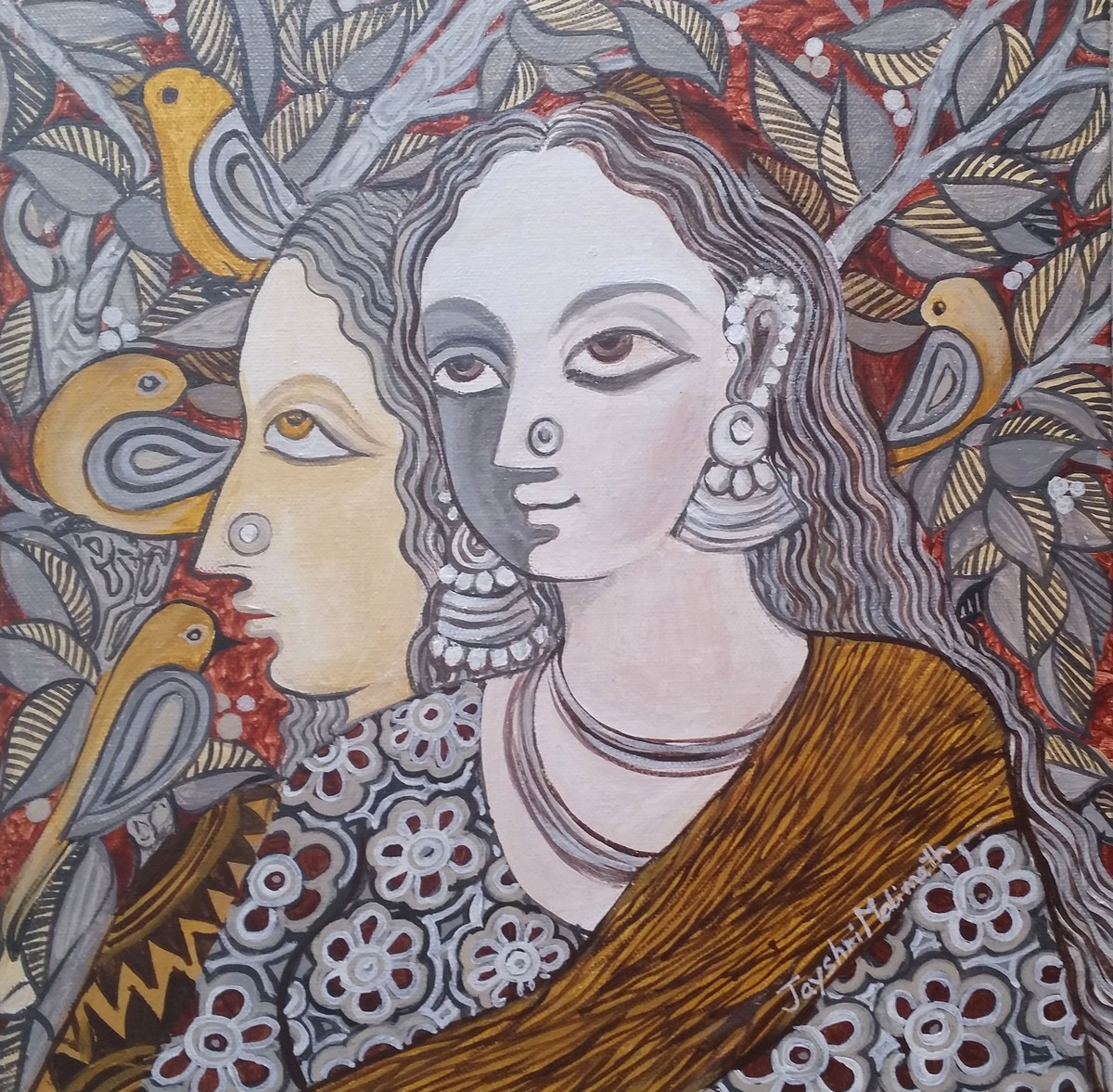 Untitled by Jayshree P Malimath, Traditional Painting, Acrylic on Canvas, Brown color
