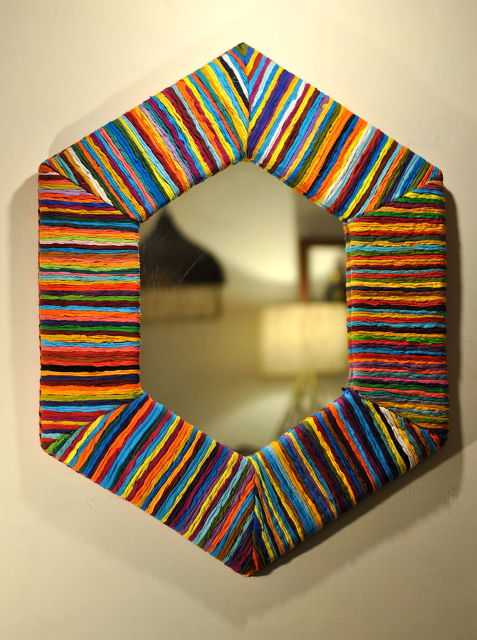 Katran Hexagonal Frame Mirror Looking Mirror By Sahil & Sarthak