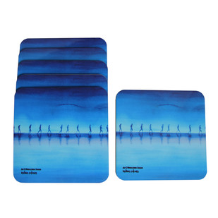 Nikhileswar Baruah Coasters by indian-colours, Contemporary Coaster Set, MDF Wood, White color