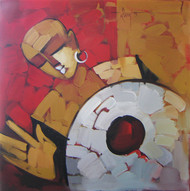 Drummer by Deepa Vedpathak, Impressionism Painting, Acrylic on Canvas, Brown color