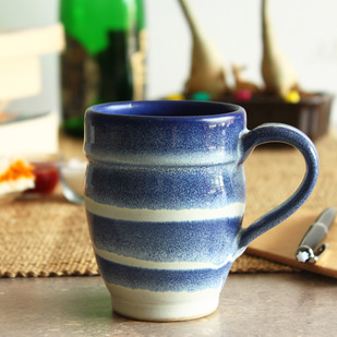 Hand Made - Groovy Mug - Ivory and Indigo Serveware By Studio Asao