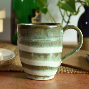 Hand Made - Groovy Mug - Ivory and Olive Green Serveware By Studio Asao