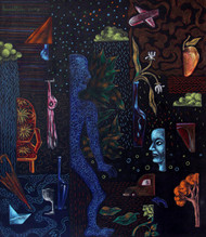 Untitled by Sumit Sen, Expressionism Painting, Mixed Media on Canvas, Blue color