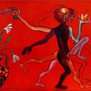 Untitled by Sumit Sen, Expressionism Painting, Mixed Media on Canvas, Red color