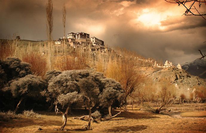 Ladakh: Monastery in the clouds by Anirban Dutta Gupta, Image Photograph, Digital Print on Enhanced Matt, Brown color