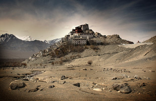 Ladakh: Thiksey Monastery by Anirban Dutta Gupta, Image Photograph, Digital Print on Enhanced Matt, Brown color
