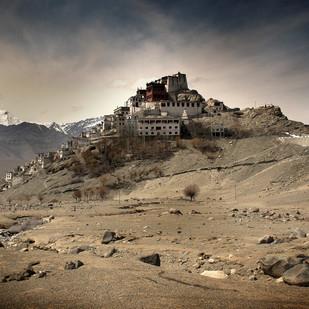 Ladakh: Thiksey Monastery by Anirban Dutta Gupta, Image Photograph, Digital Print on Enhanced Matt, Brown color