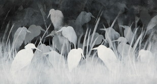The Mist Of Magical Pond by Priyanka Waghela, Impressionism Painting, Acrylic on Canvas, Gray color