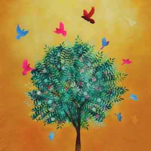 The Magic Tree by Priyanka Waghela, Impressionism Painting, Acrylic on Canvas, Brown color