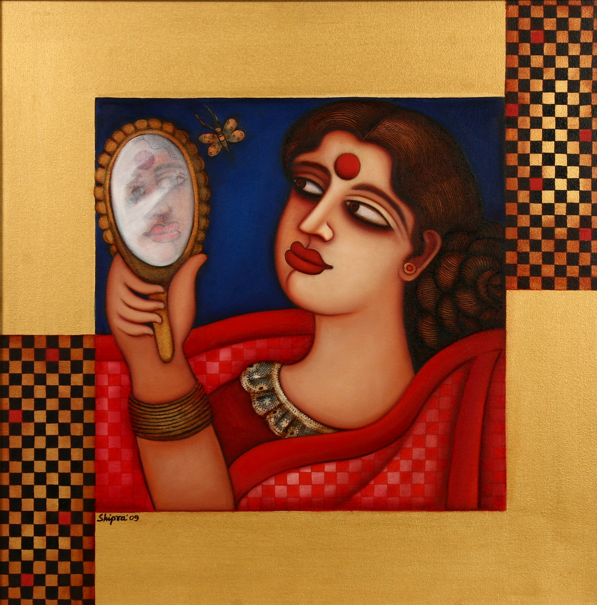 Untitled by Shipra Bhattacharya, Decorative Painting, Oil on Canvas, Brown color