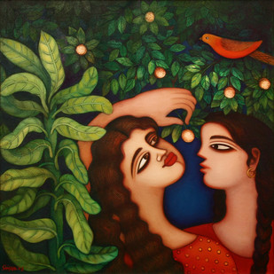 Untitled by Shipra Bhattacharya, Decorative Painting, Oil on Canvas, Green color