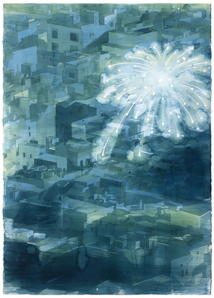 Fireworks by Indrapramit Roy, Impressionism Painting, Watercolor on Paper, Green color