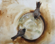 Bulbuls by Mukta Avachat, Impressionism Painting, Oil on Canvas, Beige color