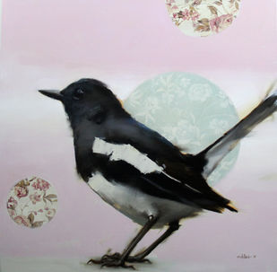 Magpie by Mukta Avachat, Impressionism Painting, Mixed Media on Canvas, Gray color
