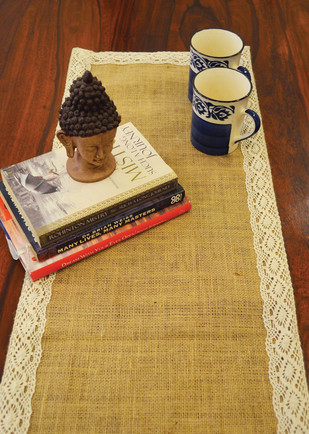 Jute with Lace Table Runner Table Ware By The House of Loom