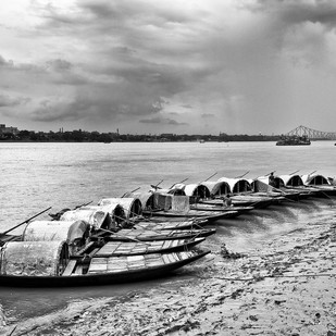 Row by Bitan Mukherjee, Image Photography, Digital Print on Canvas, Gray color