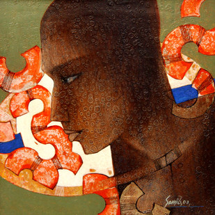 Untitled by Sanjiv Gogoi, Expressionism Painting, Acrylic on Canvas, Brown color