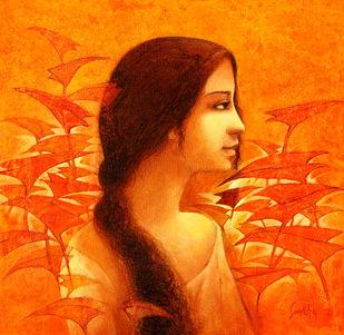 Untitled by Sanjiv Gogoi, Impressionism Painting, Acrylic on Canvas, Orange color