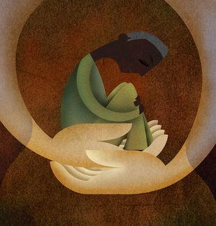 Care by Suvarna, Digital Digital Art, Digital Print on Canvas, Brown color