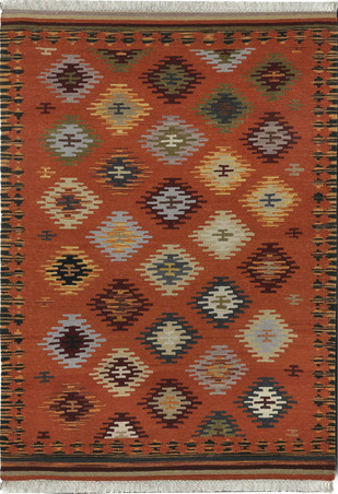 Imperial Knots Orange Handwoven Turkish Kilim by Imperial Knots, Traditional Carpet and Rug, Wool, Brown color