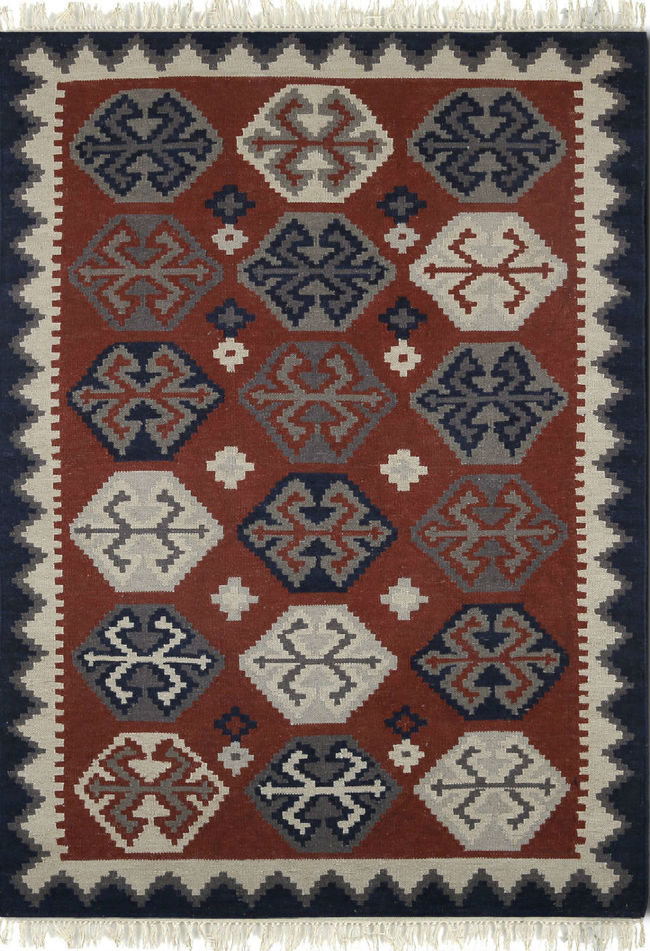 Imperial Knots Red Navy Handwoven Turkish Kilim Carpet and Rug By Imperial Knots