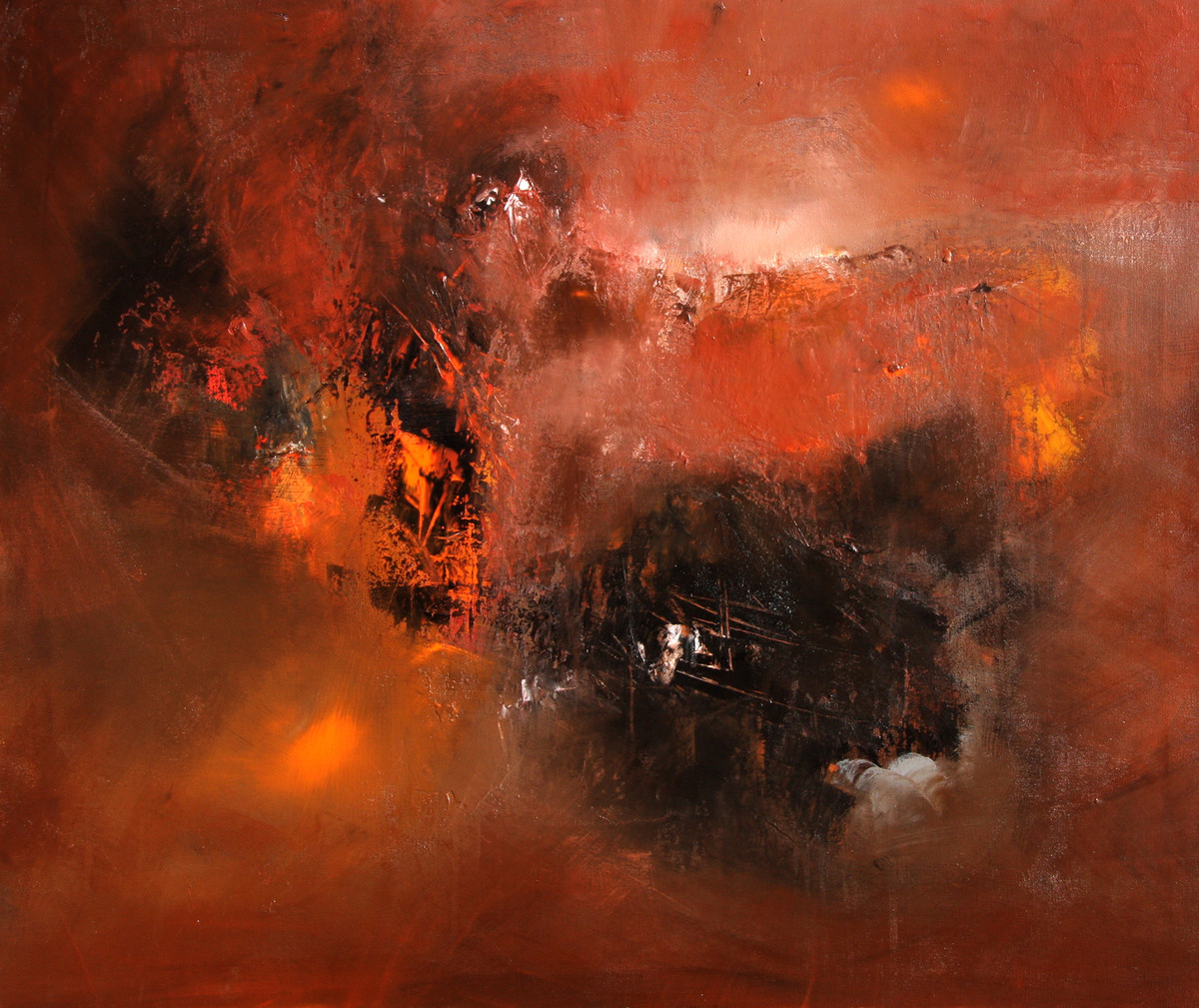 Hope Is A Waking Dream by Neena Singh, Abstract Painting, Acrylic on Canvas, Brown color