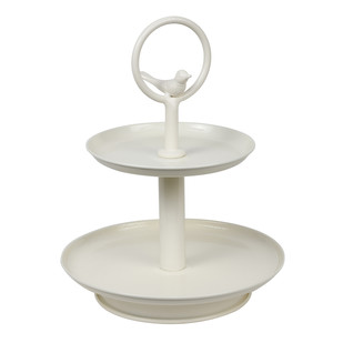 Elan Two Tier Bird - Ivory with Ivory Serveware By living-with-elan